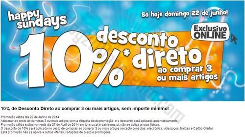 10% de desconto TOYSRUS apenas hoje e online !