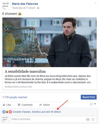 Post Maria das Palavras no Facebook