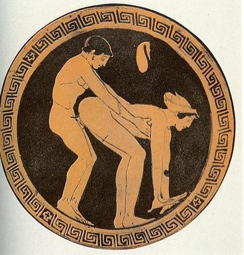 Cliente e uma prostituta (o saco de dinheiro está pendurando na parede) 480–470 AC, depositado em coleção particular em Munique.