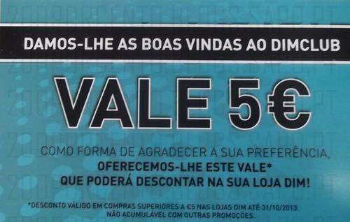 Vale 5€ em compras superiores a 5€