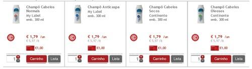 Shampoo MYLABEL a 0,79 € - Promoção Continente