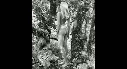 Foto de mulher nua, loira de costas, calendário Pirelli