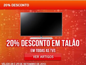 Promoção Worten - 20% de desconto em Talão, em Todas as TV's