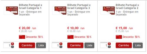 Seleção Portuguesa Apoio com 50% Portugal - Israel