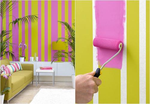 decoracao de interiores paredes pintadas: de verde com rosa, o que é perceptível no blog, amei esta parede
