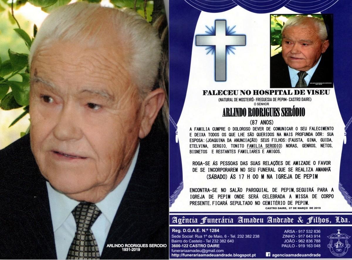 A-FOTO RIP DE ARLINDO RODRIGUES SERODIO -87 ANOS (