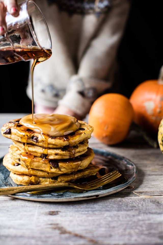Chocolate-Chip-Pumpkin-Pancakes-with-Whipped-Maple