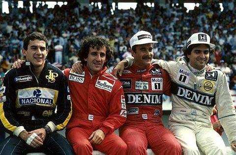 Ayrton Senna, Alain Prost, Nigel Mansell and Nelso
