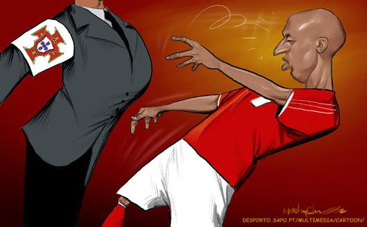 Cartoon - Encosto de Luisão ao Árbitro