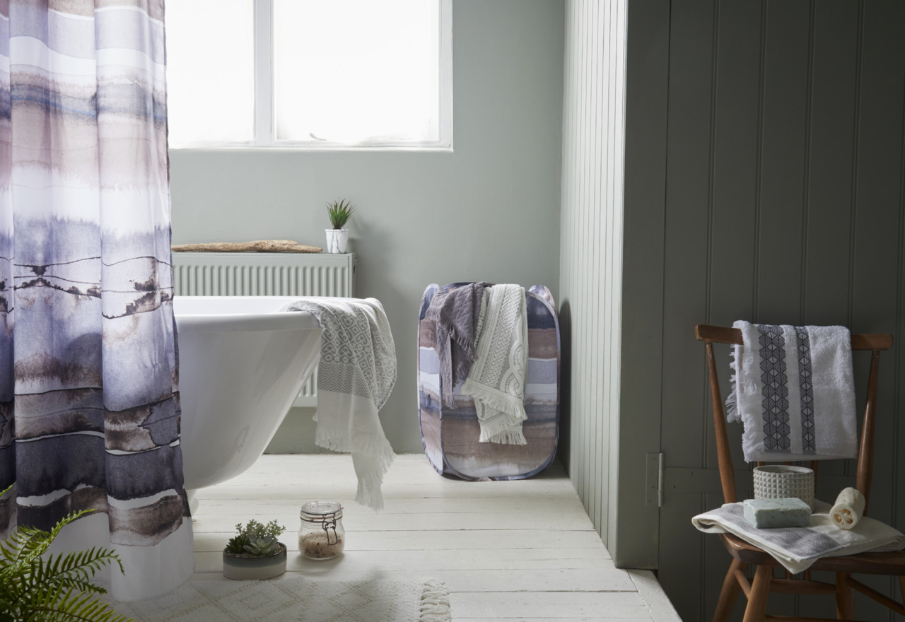 Primark Hygge Bathroom shower curtain, E7 $8, bin