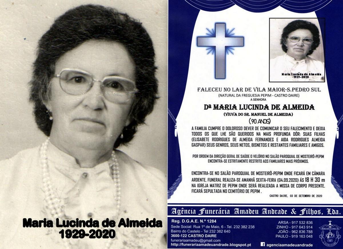 FOTO RIP DE MARIA LUCINDA DE ALMEIDA -90 ANOS (MOS