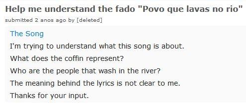 A canção. Estou à procura de perceber sôbre que é esta canção: — Que representa o caixão? — Quem é o povo que lava no rio? — O significado do poema não me é claro. Obrigado!