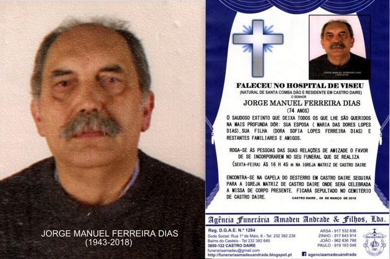 FOTO RIP  DE JORGE MANUEL FERREIRA DIAS -74 ANOS (