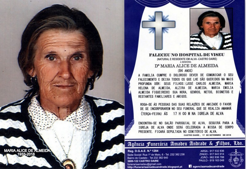 FOTO RIP  DE MARIA ALICE DE ALMEIDA-84 ANOS (ALVA)