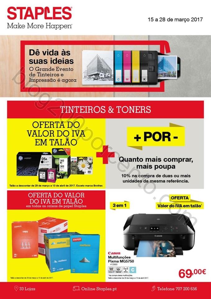 Antevisão Folheto STAPLES Promoções de 15 a 28