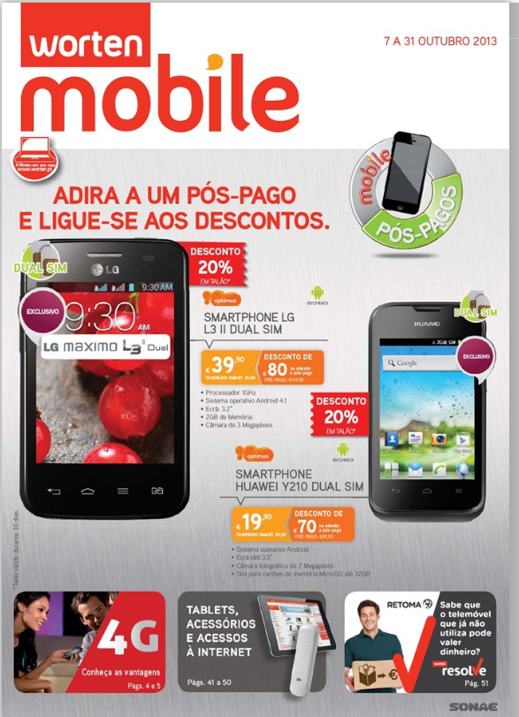 Novo Folheto Worten Mobile, de 7 a 31 Outubro