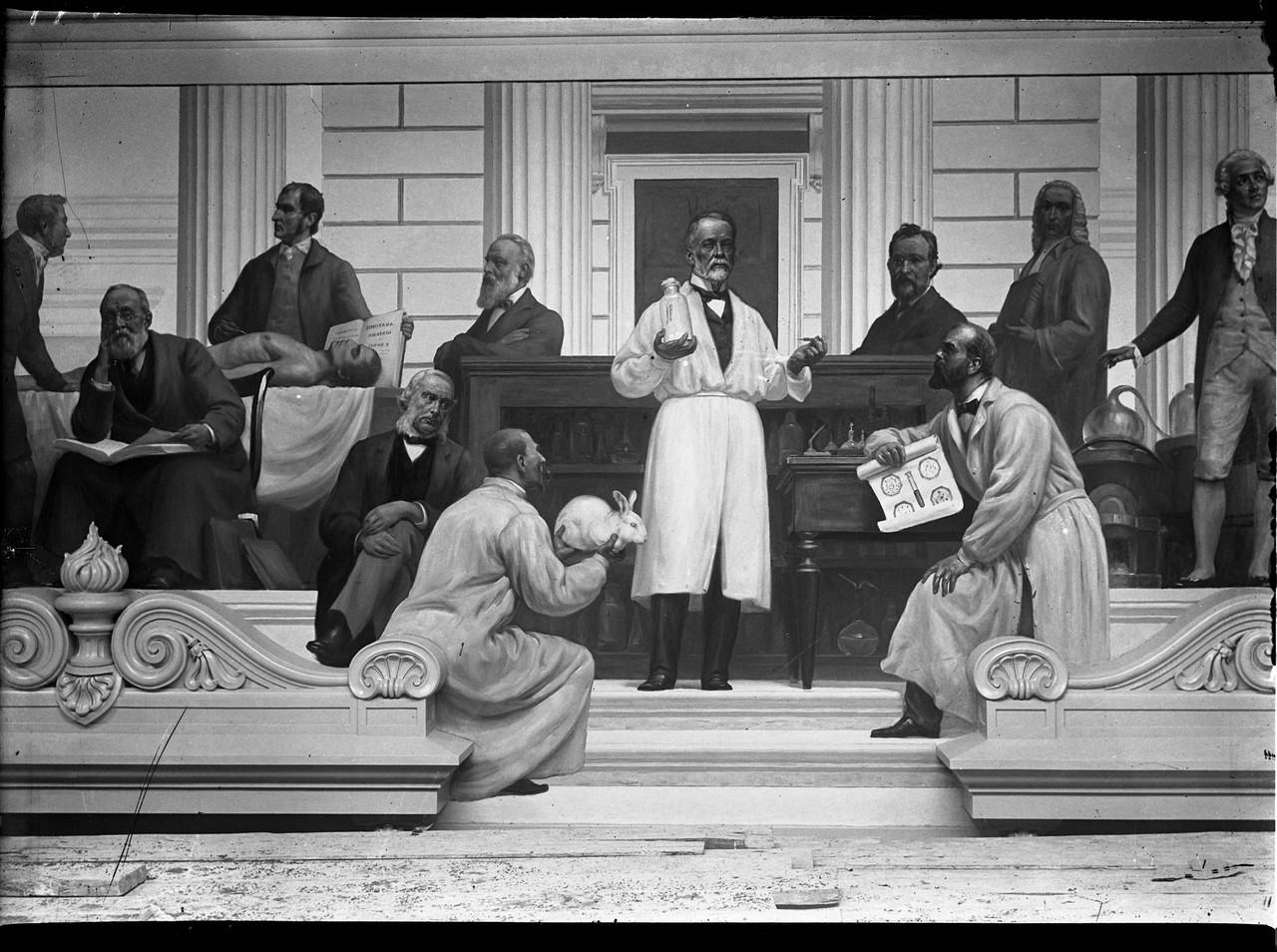 Pasteur rodeado dos seus discípulos - pintura mur