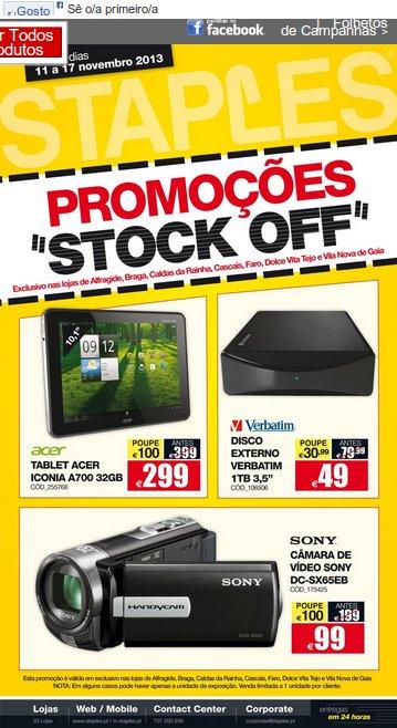 Stock Off | STAPLES | Produtos de 11 a 17 novembro