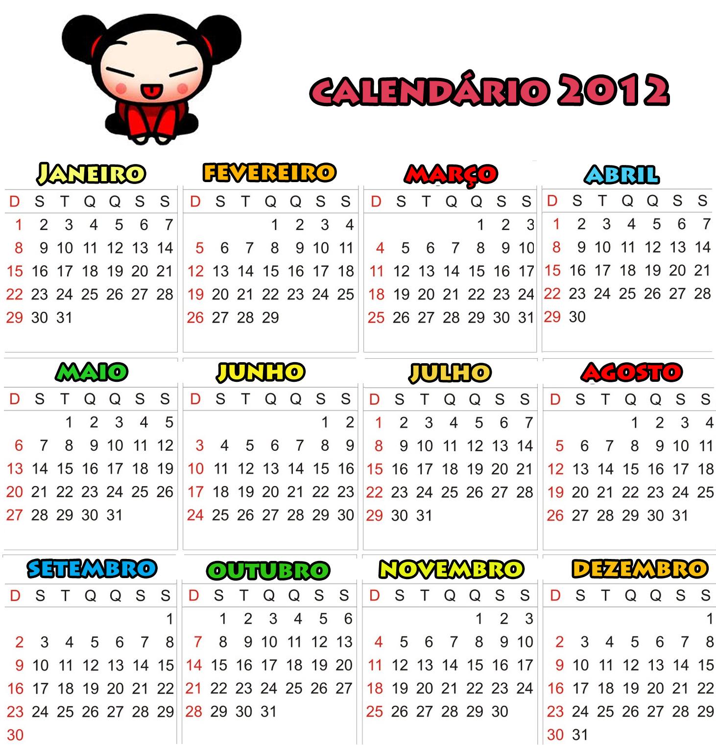2012 Calendario 2012 Calendario 2012 Da Pucca Calendario 2012 Para