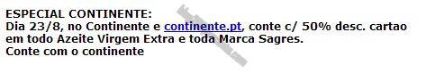 Antevisão Promoções CONTINENTE 50% em Marca Sagres e Azeite Virgem Extra