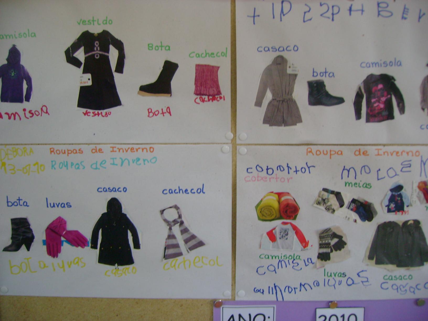 ideias para trabalhar no jardim de infancia:recortes de imagens com roupas de inverno