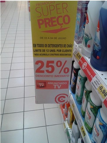 25% de desconto CONTINENTE dias 3 e 4 julho - Detergentes Chão
