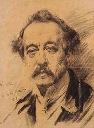 Carlos Reis, auto-retrato (desenho sobre papel, 1917)
